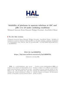 Solubility of platinum in aqueous solutions at 25°C and pHs 4 to 10