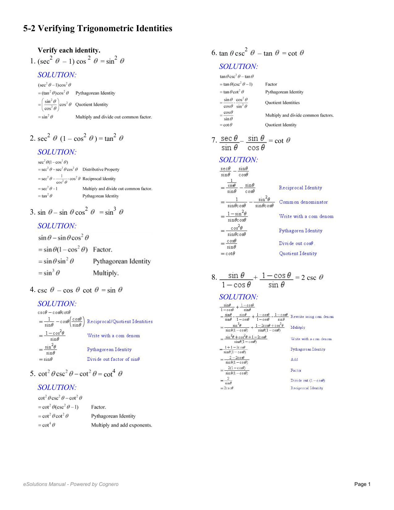 Proving Trigonometric Identities Worksheet With Answers ...
