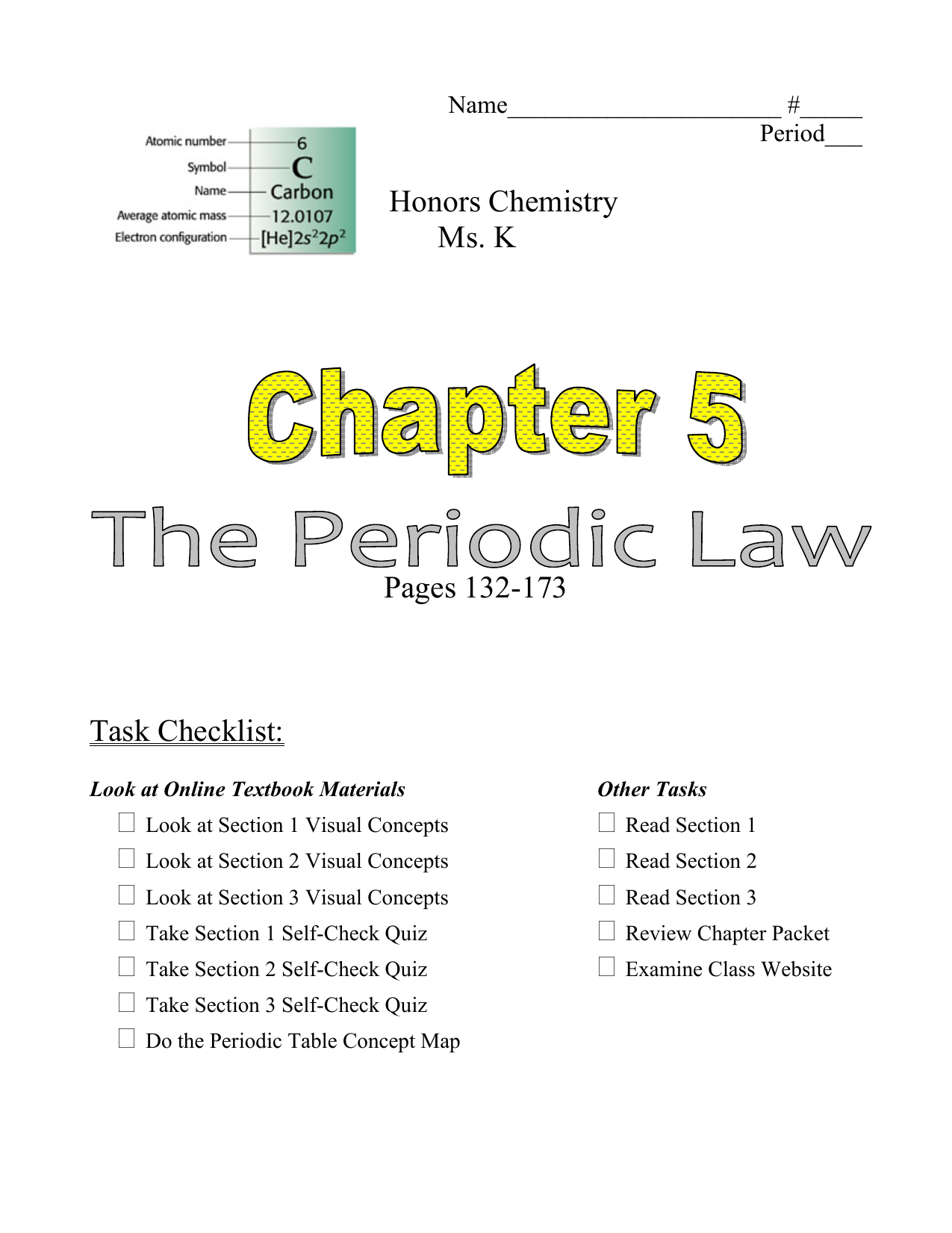 honors chemistry ms k pages 132