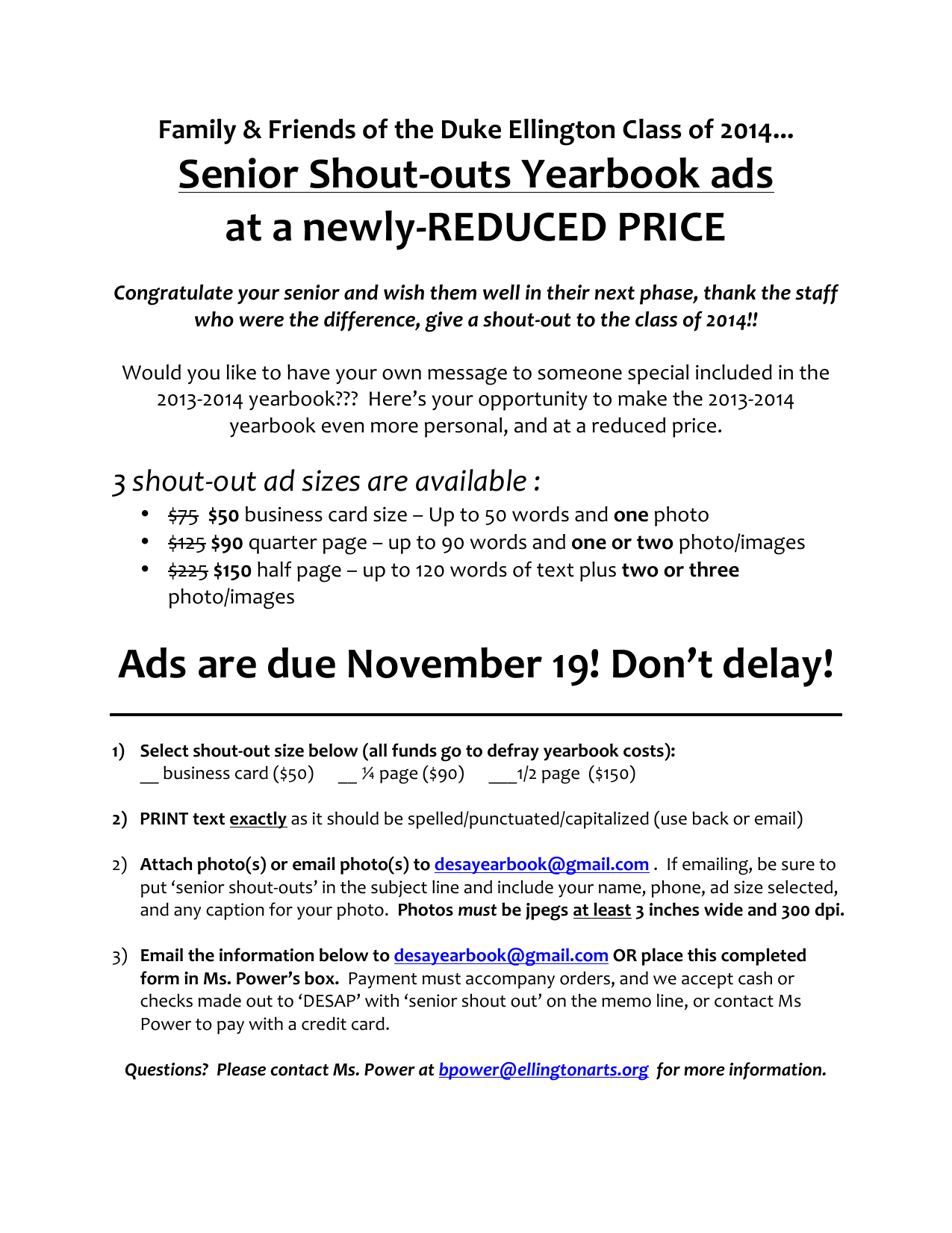 Senior Shout-‐outs Yearbook ads at a newly