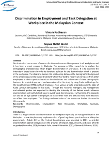 Discrimination in Employment and Task Delegation at Workplace in