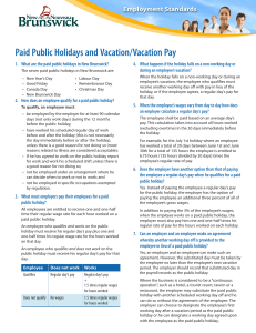 Paid Public Holidays and Vacation/Vacation Pay