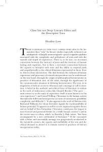 Close but not Deep: Literary Ethics and the Descriptive Turn Heather