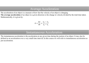 Average Acceleration Instantaneous Acceleration