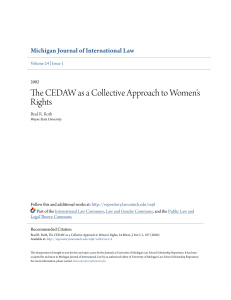 The CEDAW as a Collective Approach to Women`s Rights