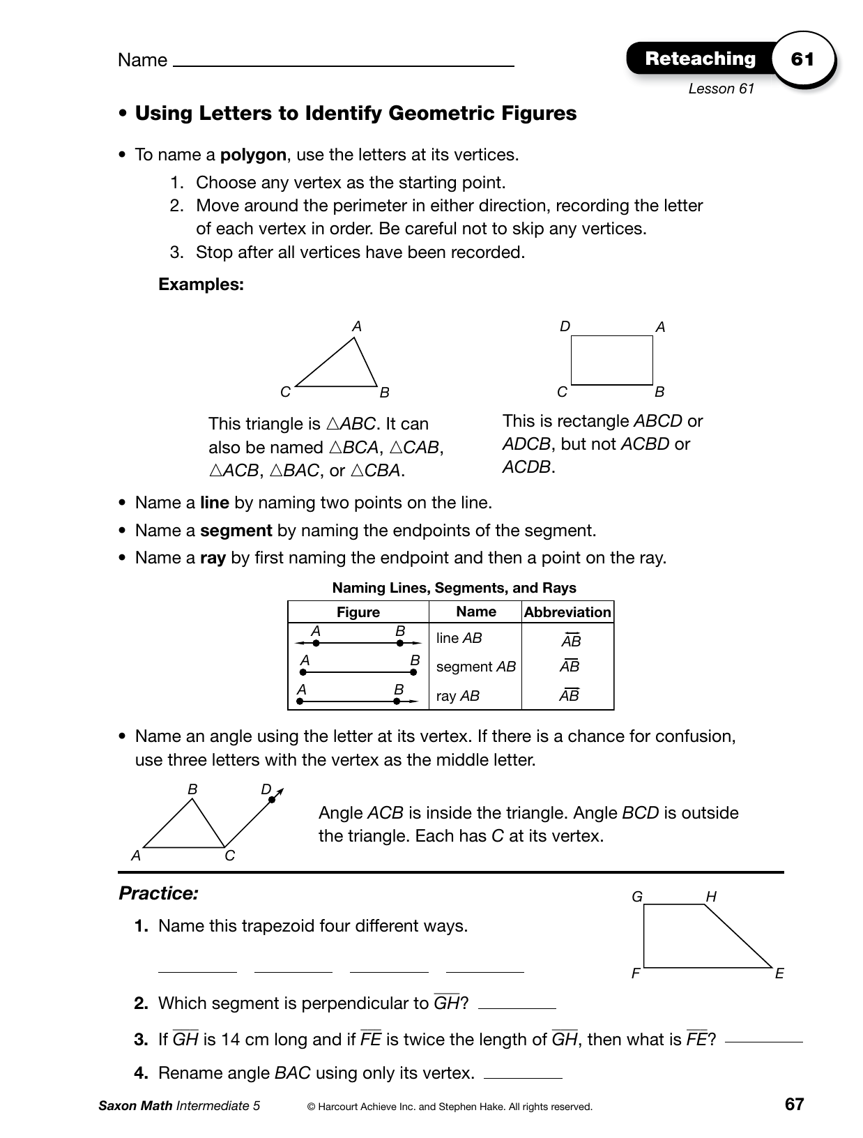 Bestseller: Answers For Saxon Math Lesson 73
