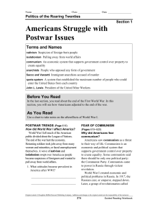 Americans Struggle with Postwar Issues