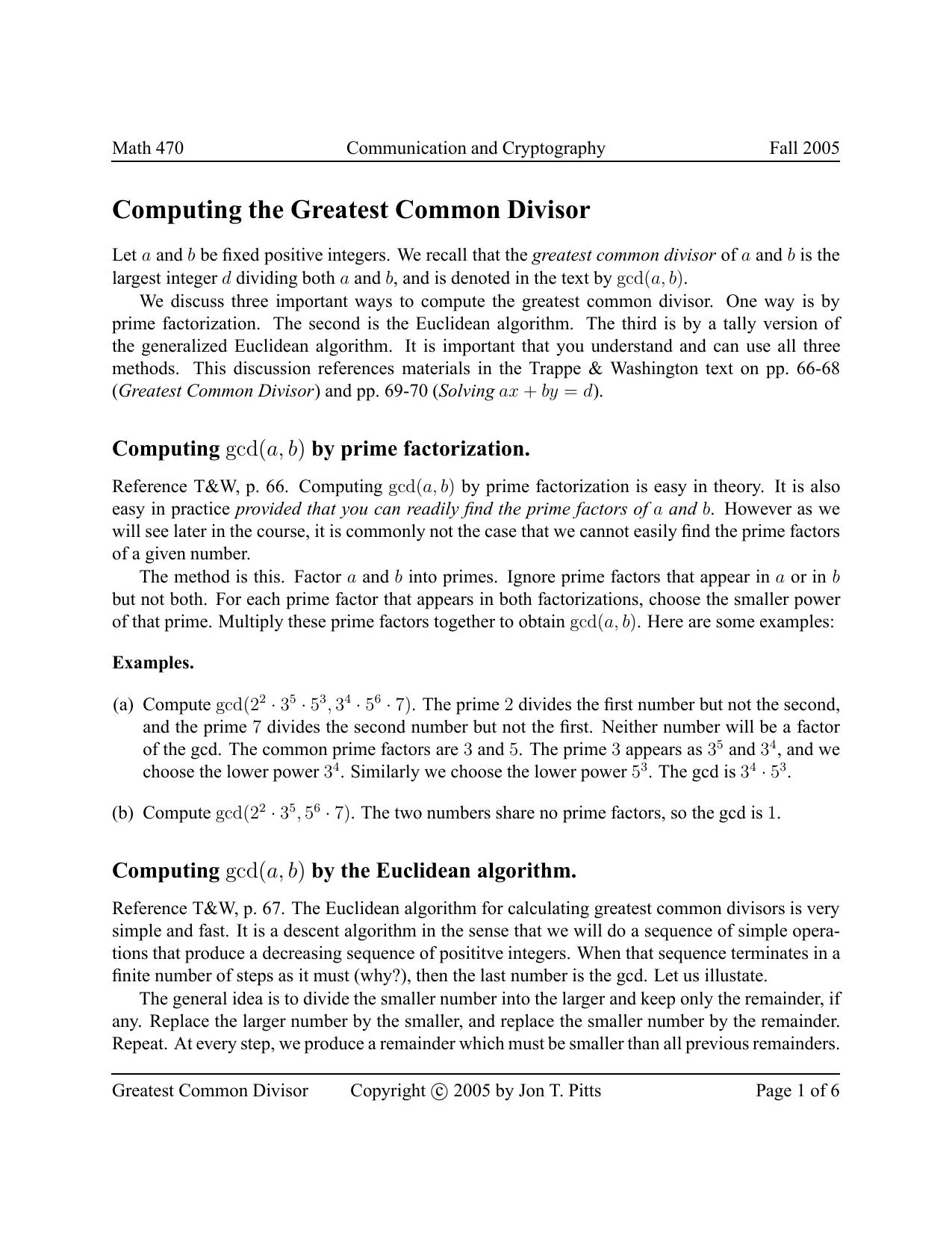 Computing the Greatest Common Divisor