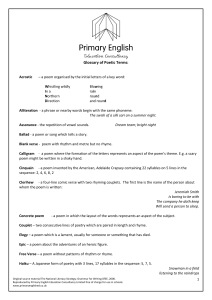 Glossary of poetry terms - Primary English Education