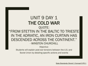 US Unit 9 Day 1 The Cold War