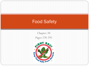 Unit 3 Chapter 20 Food Safety and Sanitation