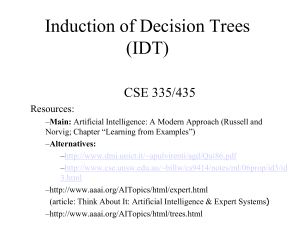 Induction and Decision Trees