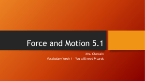 Vocabulary 7.1 Force and Motion