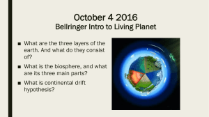 October 4 2016 Bellringer Intro to Living Planet
