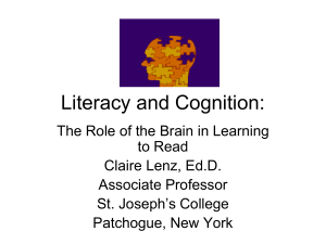 Literacy and Cognition - Graduateprograminliteracy