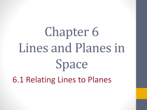 Section 6.1 Relating Lines to Planes - Honors Geometry 2012-2012