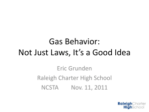 Gas Behavior: Not Just Laws, It*sa Good Idea