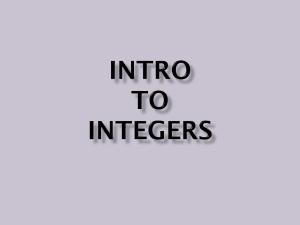 Intro to Integers - POWER POINT