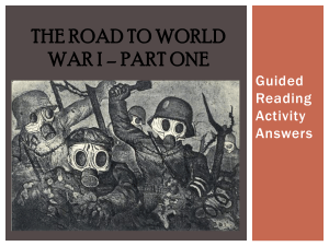 THE Road to World War I - pams
