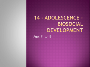14 - Adolescence – Biosocial Development