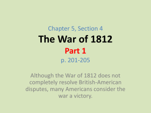 The War of 1812 - El Segundo Middle School