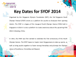 Key Dates for SYOF 2014