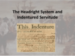 The Headright System and Indentured Servitude