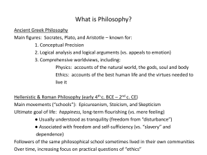 What is Philosophy? - UCI Humanities Core