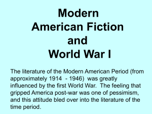 Modern American Fiction and World War I