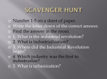 SCAVENGER HUNT First Part of Industrial Revolution Quick Review
