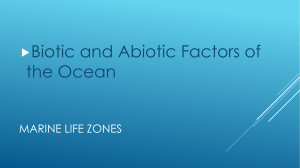 Marine Life zones and biotic and abiotic factors chart information