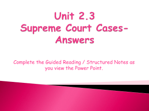 Unit 2.3 Supreme Court Cases