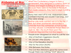 Alabama at War: Conflict between the North and South Chapter 5