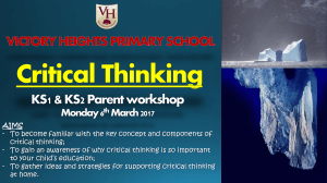 Critical Thinking Workshop for Parents – KS1 and KS2