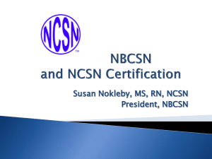 NBCSN and NCSN Certification - National Board for Certification of