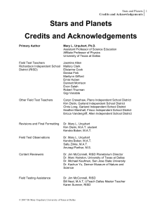 Stars and Planets Credits and Acknowledgements