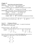 Chapter 11 Square Roots, Pythagorean Theorem