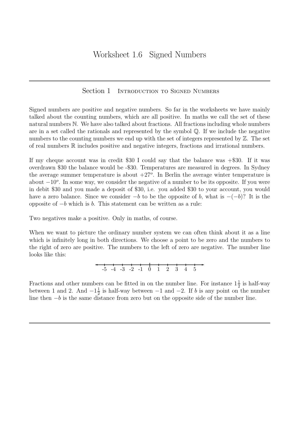 Worksheets Signed Numbers Worksheet worksheet 1 6 signed numbers
