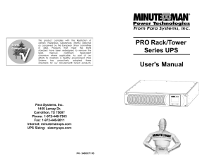 PRO Rack/Tower Series UPS User`s Manual