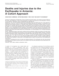 Deaths and Injuries due to the Earthquake in Armenia: A Cohort