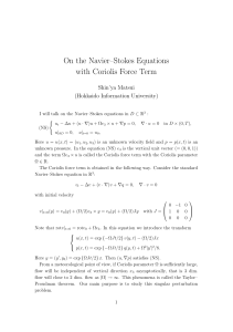 On the Navier–Stokes Equations with Coriolis Force Term