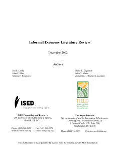 Informal Economy Literature Review