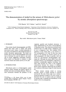 The demonstration of nickel in the urease of Helicobacter pylori by
