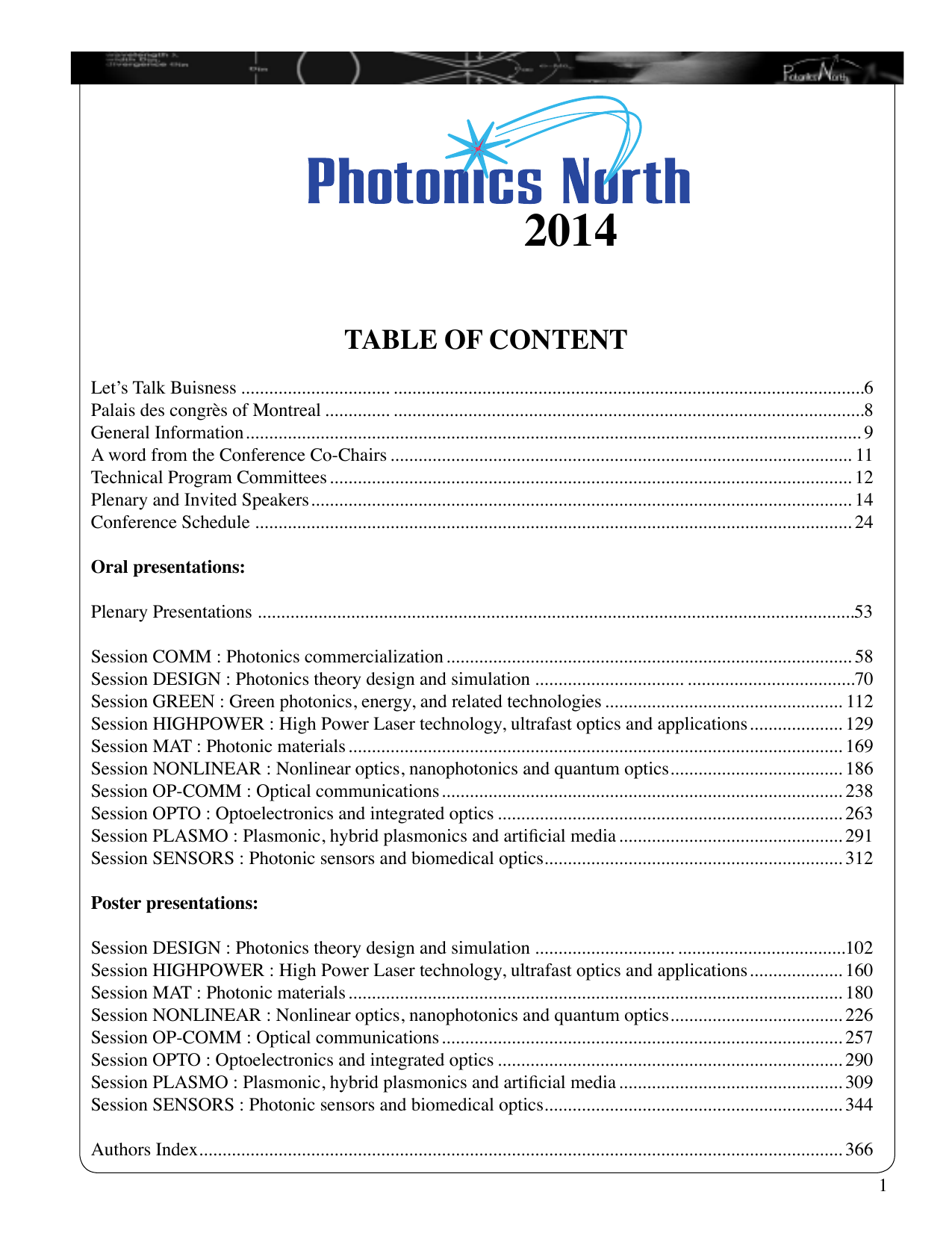 table of content - Photonics North