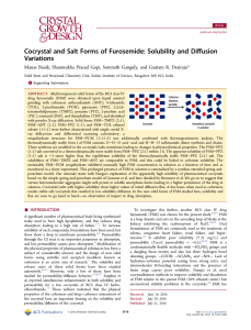 Cocrystal and Salt Forms of Furosemide: Solubility and Diffusion