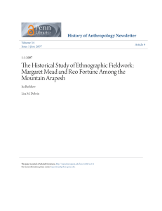 The Historical Study of Ethnographic Fieldwork: Margaret Mead and