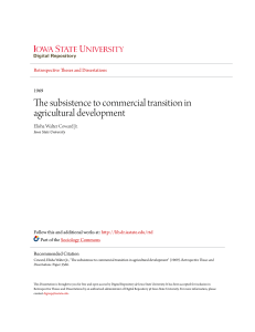The subsistence to commercial transition in agricultural development
