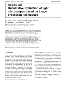 Quantitative evaluation of light microscopes based on image
