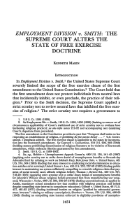 EMPLOYMENT DIVISION v. SMITH: THE SUPREME COURT