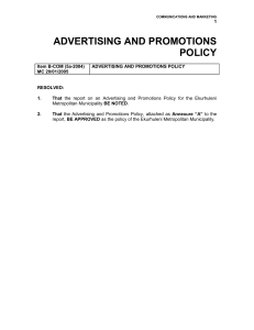 E 01a ADVERTISING AND PROMOTIONS POLICY
